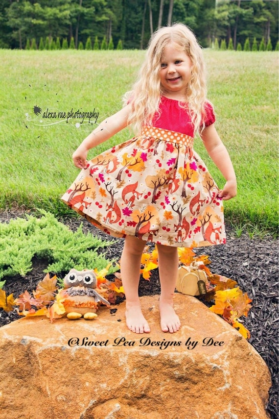 Fall dress, fox, leaves, berries, trees, peasant style, short sleeves, burgundy, polka dots, toddler dress, girls dress