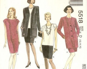 VINTAGE McCall's Pattern 5518 Misses' Unlined Jacket and Dress: