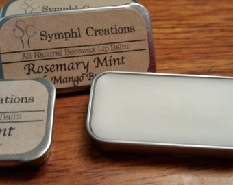 Rosemary Mint Lip Balm Tin / All natural beeswax lip balm / Peppermint