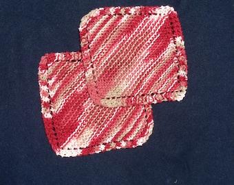 Pair of Cranberry Cotton a Dishcloths