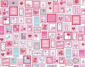 Riley Blake Lovey Dovey Stamps in Red - Doodlebug Designs - Valentine's Day - 1 yard