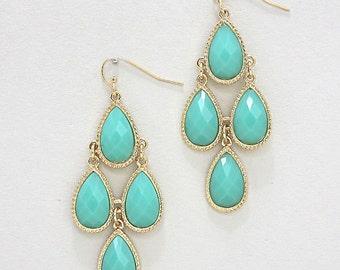 ON SALE Chandelier Mint earrings, statement earrings, dangles, teardrops, cluster, gift idea.
