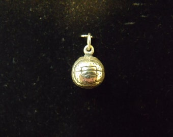 Sterling Silver Basketball, solid 3D Charm/Pendant  - .925  5.6 grams