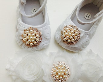 White satin rosette baby shoes and headband set,white crib shoes, baptism and christening baby shoes, ballerina shoes, princess shoes