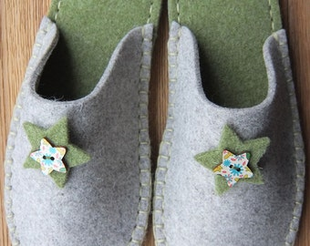 U. S Sizes! Wool Felt slipper - handsewn in a choice of 8 colours