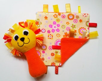 Taggie Blanket & Toy / Fleece Taggie Baby Rattles and Taggie Blanket Set in Yellow and Orange