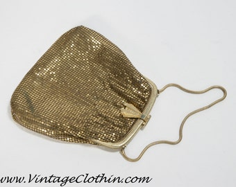 1930s Whiting & Davis Vintage Gold Mesh Purse, Whiting and Davis Purse, Vintage Purse, Gold Mesh Purse, Evening Purse, Vintage Handbag