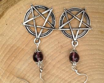 Amethyst Pentagram/Pentacle Pagan Earrings Gemstone Crystal Tibetan Silver Pagan/Wicca/Witch/Witcraft/Shamanism/New age/Goth/Boho