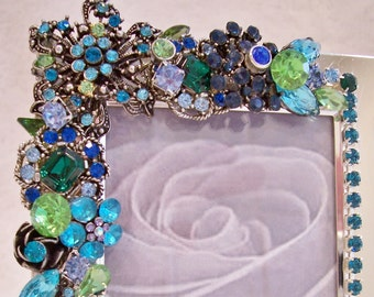 Vintage Jeweled Photo Frame in Shades of Blues and Green. Great Gift.