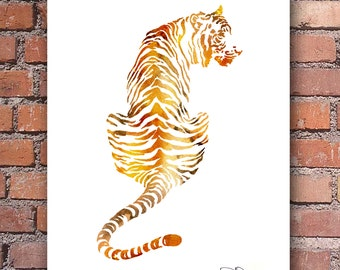 Tiger Watercolor - Abstract Painting - Wall Decor