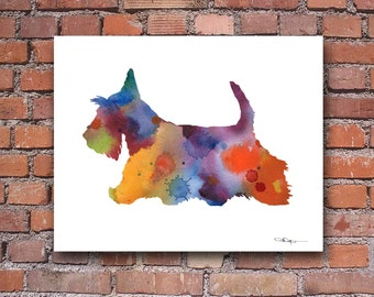 Scottish Terrier Art Print - Abstract Watercolor Painting - Wall Decor