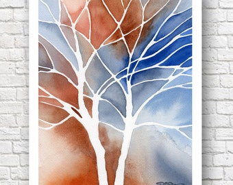 """Abstract Watercolor Painting - """"Mingle 2""""  - ContemporaryWall Decor"""