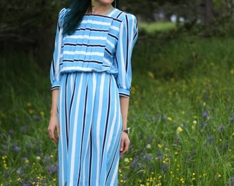 Vintage 1980s Blue Striped Dress