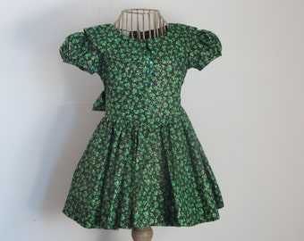 Green Shamrock Dress, Vintage Size 3