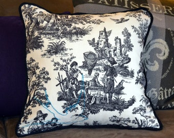 toile pillow cover hand embroidery stitched bird french country decor woodland bird pillowcase toile bedding cottage