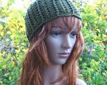 Crochet olive green beanie, lacey crochet merino wool blend hat, green boho style beanie, lacey natural fibers hippie hat, hip crochet toque