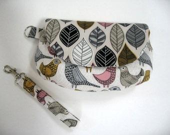 Handmade wristlet clutch purse birds clutch bag fold over clutch birds and leaves