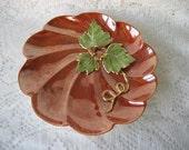Pumpkin plate Dish orange Porcelain ceramic pottery Hand painted Home decor