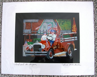 """Giclee Print;  """"FRED & HIS SEAGRAVE"""" Signed, matted 16x20"""