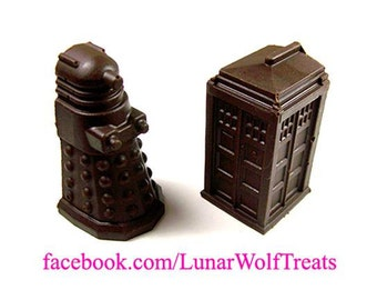 Solid Chocolate T.A.R.D.I.S. and Dalek sets!