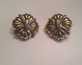 Vintage Gold Silver 1980s Earrings Costume Jewelry