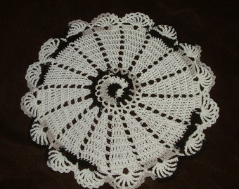 New Hand Crocheted Doily - white and zebra multicolor