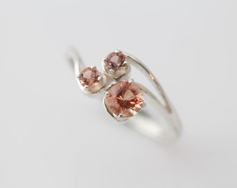 Oregon Sunstone Three Stone Ring Set in Sterling Silver, Past Present Future Ring