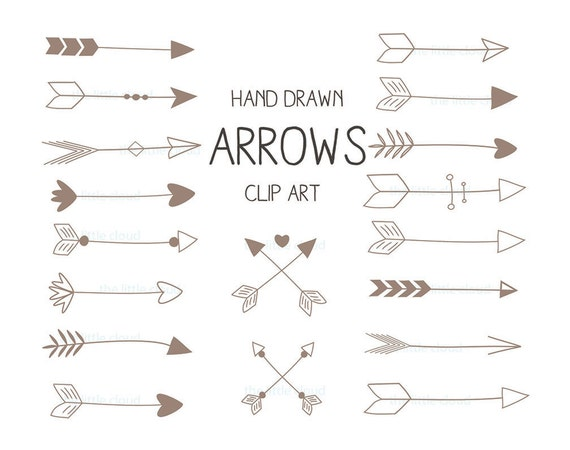 Brown hand drawn Arrows Clipart A set of 18.