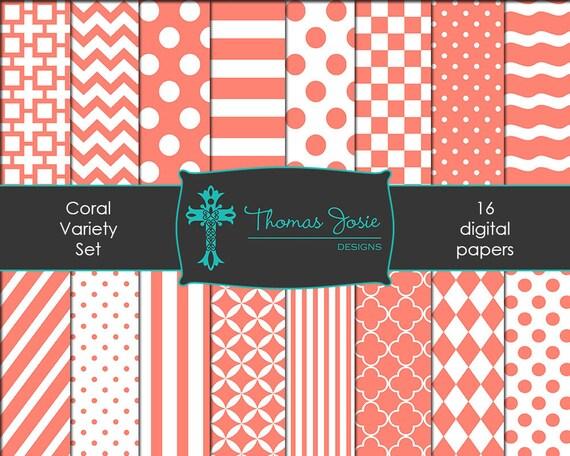 Coral Digital Paper Backgrounds Striped Digital Polka Dot Digital Chevron Digital Quatrefoil Pattern Party Paper 8.5 x 11 - Instant Download