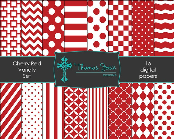 Cherry Red Digital Paper Backgrounds Striped Digital Polka Dot Digital Chevron Digital Quatrefoil Pattern Papers 8.5 x 11 - Instant Download