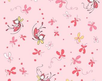 Riley Blake Butterfly Dance Pink Cotton woven 1 Yard