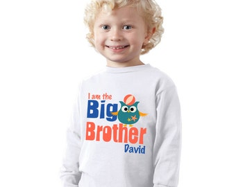 I'm the big Brother nautical owl kids shirt or Baby Bodysuit