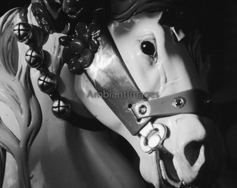 Merry Go Round - Horse - Photographic print - wall art - black white - vintage -Home Decor