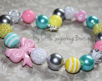 Pastel Chunky Necklace-yellow-turquoise-pink-Bubblegum Necklace-Baby-Toddler-Girls-Women