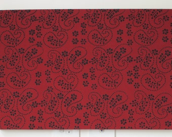 SALE Paisley Batik Wall Art in Claret Red and Black