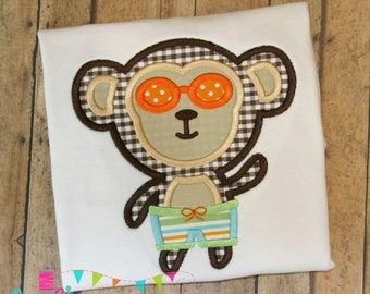 Boy Beach Monkey Applique Design