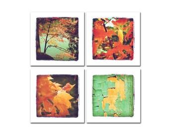 Quadriptych soft colorful vintage look photography: four squares, orange turquoise aqua. Shabby chic cottage decor. Pretty gift set..