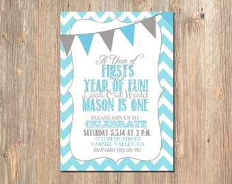 1st Birthday Invitation - First Birthday Invitation / Chevron Teal & Grey can be changed to any color - colors. Invite - Invites Boy - Girl