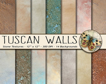 Stone Digital Paper, Tuscan Walls Photo Backgrounds, 14 Rustic Stone Photo Backdrops, Old World Textures