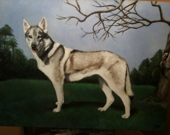 "Custom Portrait of a pet from photograph   14"" x18"" painted on canvas in Acrylic"