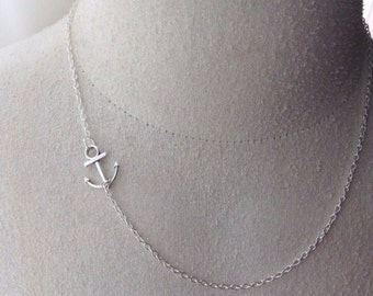 Sideways Anchor Charm Necklace