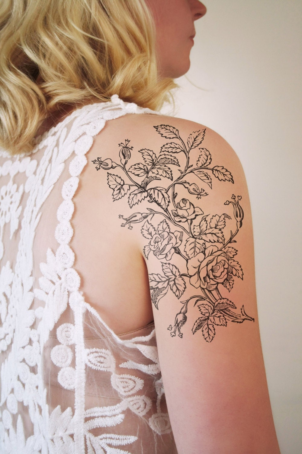 large floral temporary tattoo flower temporary by tattoorary. Black Bedroom Furniture Sets. Home Design Ideas