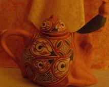 Unique Vintage Ceramic Red Clay Pueblo Pottery Pitcher Made in Lara Quibor Venezuela