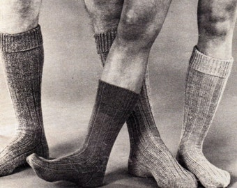 Vintage Knitted Man/Boy Ribbed Socks Pattern.