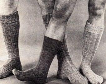 Vintage Knitted Man/Boy Ribbed Socks Pattern.