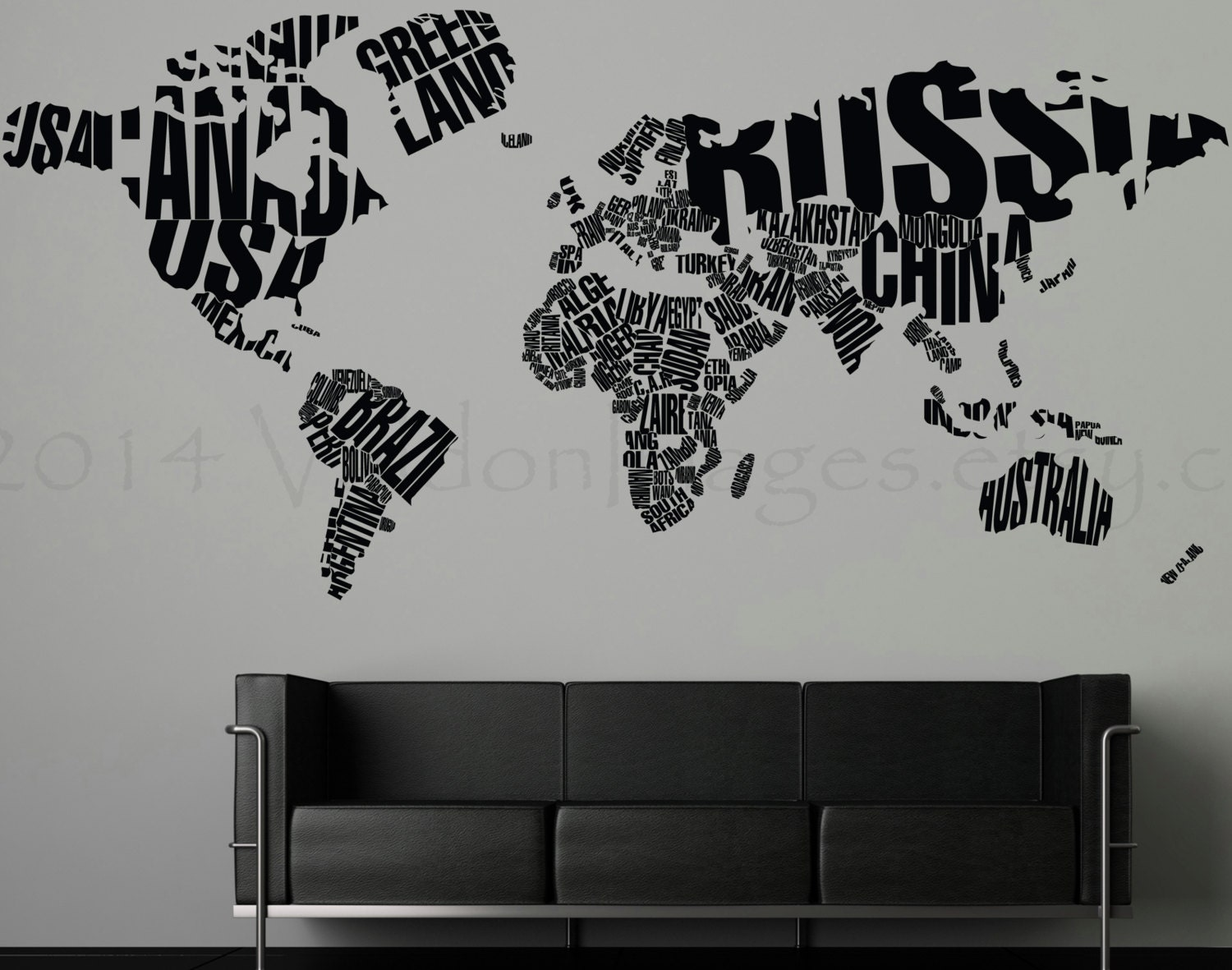 World map wall decal, living room wall decal, bedroom wall decal, map wall