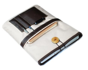 """Canvas Notebooktasche13 """"+ sand brown leather compartment"""