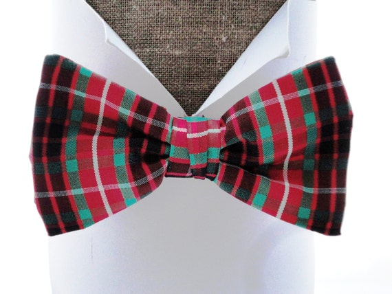 "Red Tartan Taffeta Bow Tie, pre tied or self tie bow tie will fit neck size up to 20"" (50cms)"