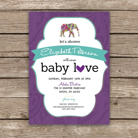 boho baby shower invite baby girl baby shower elephant invite