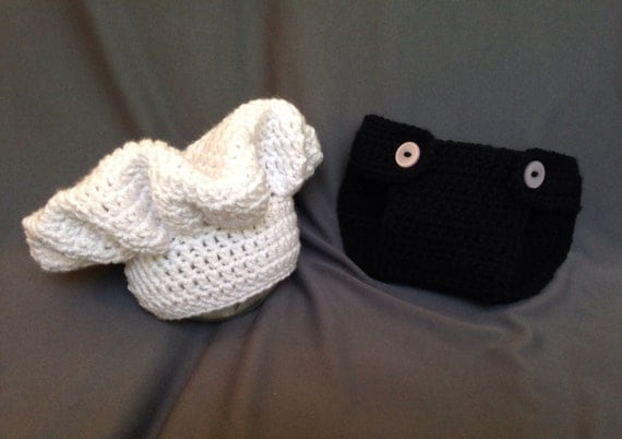 Crochet Pattern Chef Hat : Newborn Chef crochet set Chef hat & diaper cover photo prop